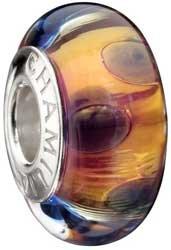 Authentic Chamilia 24K Gold Collection Majestic Murano Glass Bead * Sterling Silver 2116-0072