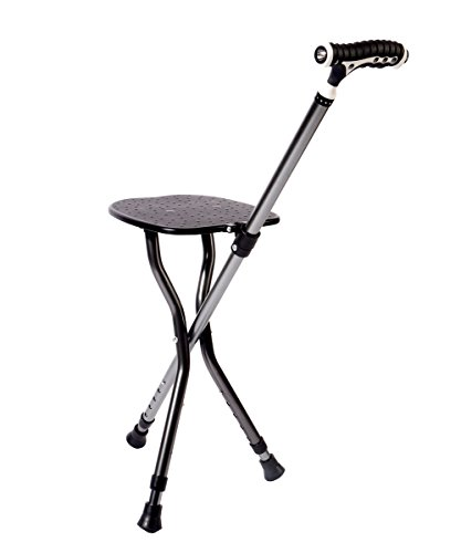 (Best Health Cane Stool Golf Walking Seats Retractable Lightweight Walking Stick with LED Light for Elderly Outdoor Travel Rest Stool Folding Chair Replacement Large Weight Capacity (Black Cane seat))
