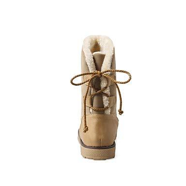 NVXUEZIX NVXUEZIX NVXUEZIX Damen Schuhe Beflockung Kunstleder Winter Herbst Schneestiefel Modische Stiefel Pelzfutter Stiefel Null Flach Runde Zehe Mittelhohe, us7.5   eu38   uk5.5   cn38 e2a0a4