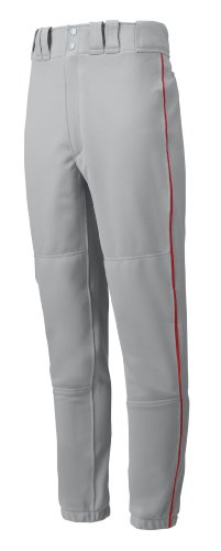 Mizuno Premier Piped Pant (Gray/Red, Medium) by Mizuno