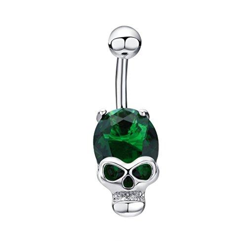 Skull Navel Ring (Fashion Cool Gold Ruby Zircon Cz Diamond Skeleton Skull Sex Body Piercings Navel Belly Ring Piercing Women Ombligo Punk Jewelry (Green))