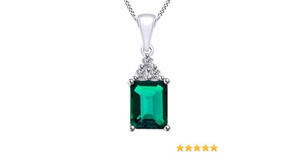 AFFY Cushion Cut Simulated Green Emerald Pendant Necklace in 14k Gold Over Sterling Silver