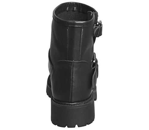 Biker Gunmetal Buckle Leather Black Office Amery Boots qx4ECxvw