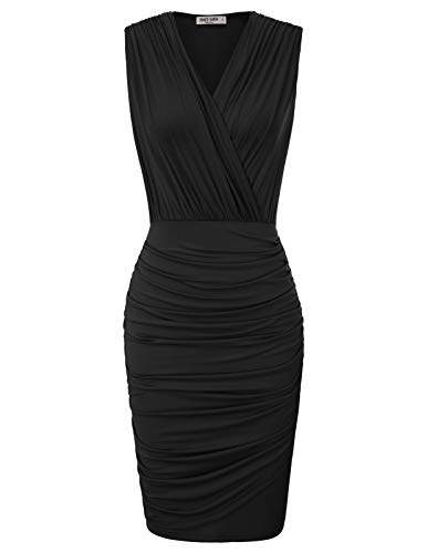Women's Unique Cross Wrap Stretchy Casual Formal Pencil Dress XL Black 1 ()