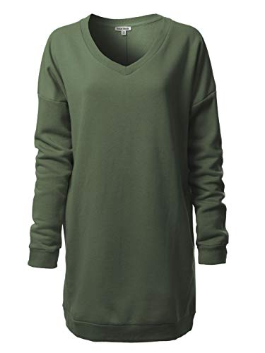 Tunic Length Vest - Instar Mode Women's Casual Loose Fit V-Neck Long Sleeves Over-Sized Tunic Sweatshirts Army Green ML