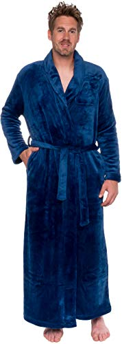 Ross Michaels Mens Long Robe - Full Length Big & Tall Bathrobe (Navy, L/XL)