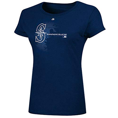 VF Seattle Mariners MLB Women's Authentic Majestic Change Up Tee Shirt Navy Plus Sizes (1X)