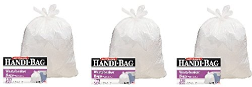 Handi-Bag Super Value Pack, 8gal, .6mil, 22 x 24, White, 130/Box (3-Pack)