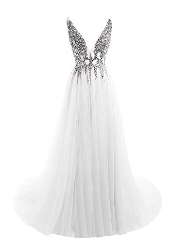Prom Dresses Deep V Neck Sequins Tulle and Lace Sex High Split Long Evening Dresses HFY170503-White-Custom Made]()