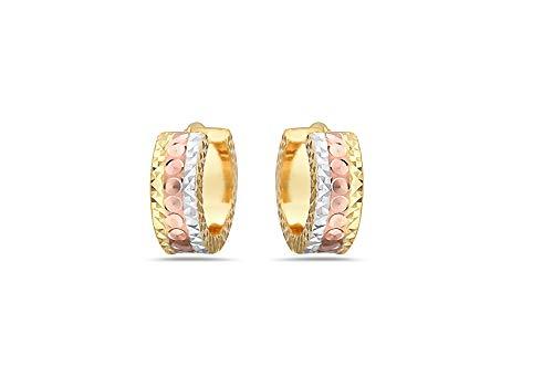 (18K Solid Gold Tri-color Diamond Cut 10MM Huggie Hoop Earrings For Women -Multiple Styles (0148))
