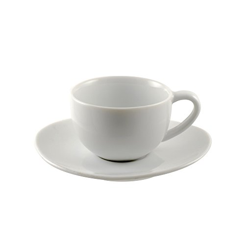 10 Strawberry Street RVL0428-6 Royal Oval Demi Cup/Saucer, Set of 6, White