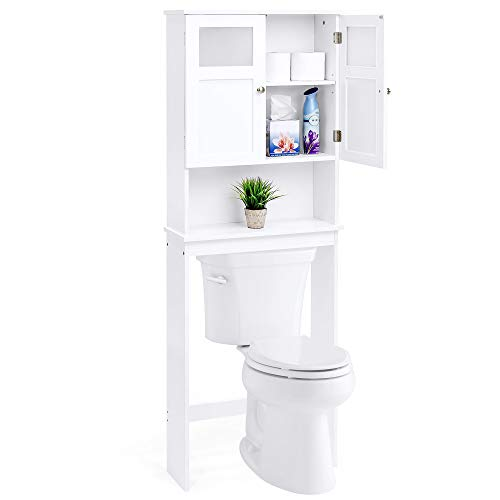 Decor Space Saver - Best Choice Products Bathroom Over-The-Toilet Space Saver Shelving Stand Double Door Storage Cabinet Tower, Organizer, Decor Holder, Towel Rack for Linens, Toiletry, Bath Soap, Shampoo, White