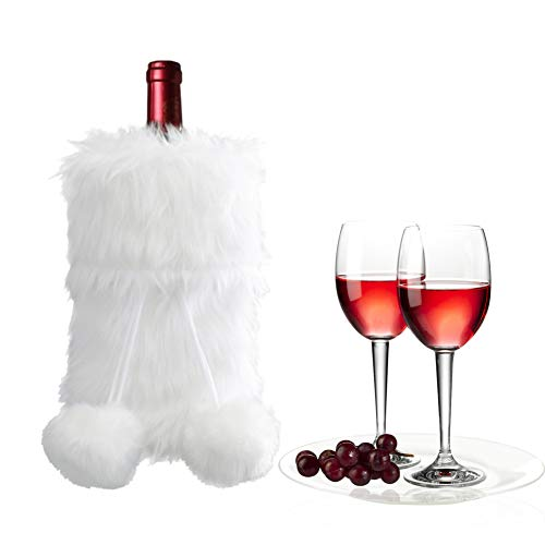 O-heart Christmas Faux Fur Wine Bottle Cover, White Cozy Wine Bottle Gift Bags with Pom-poms Drawstring for Xmas Valentines Day Party Holiday Decor