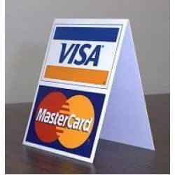 Visa MasterCard Credit Card Cash Register Counter Display Table Tent Sign Decal