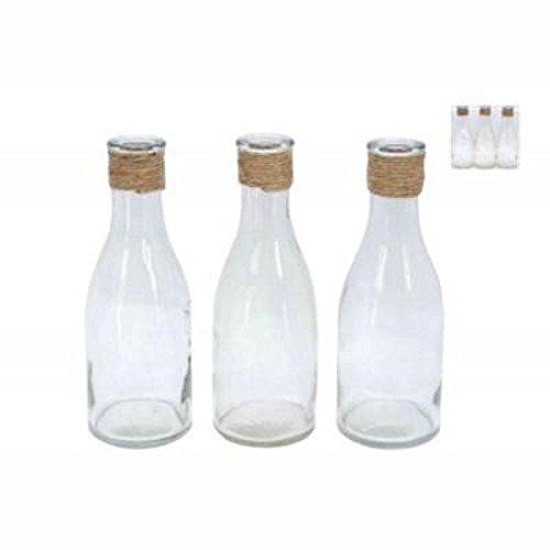 Hunky Dory Gifts Conjunto de 3 floreros de la Botella de Vidrio con el Regalo Superior náutico del Ornamento costero Envuelto del Yute: Amazon.es: Hogar