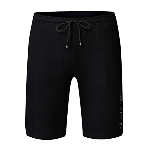 (Ninasill Hot!Men's Solid Color Straight Surfing Beach Shorts Large Size Tethered Sports Shorts Summer Swimming Pants Black)