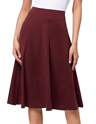 (Women's Solid Lightweight Flare Midi Pull On Skirt S-XXXL Plus Size(3XL,Wine) )