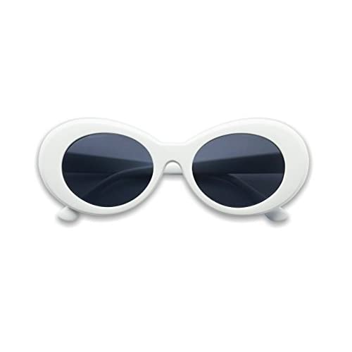 Colorful Oval Kurt Cobain Inspired Mod Round Pop Fashion Sunglasses (White, Black)