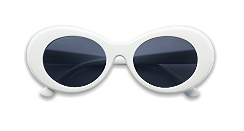 Colorful Oval Kurt Cobain Inspired Mod Round Pop Fashion Sunglasses (White, - Oval Sunglasses White