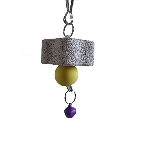 Parrot Chewing Toy, Bird Beak Grinding Stone with Bell, Bird Teeth Care Chew Lava Block Calcium Supplement Food for African Greys Amazon Conure Eclectus Hamster Chinchilla Rabbit (1.57in)