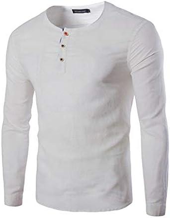 Yivise Camisa de otoño para Hombre de Moda de Manga Larga Casual Regular Fit Algodón Cuello Redondo Tops Blusa: Amazon.es: Ropa y accesorios
