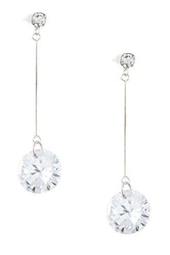 GlitZ Finery Round CZ Stone Drop Dangle Earring (Rhodium/Clear) - Charlie Angel Halloween Costumes