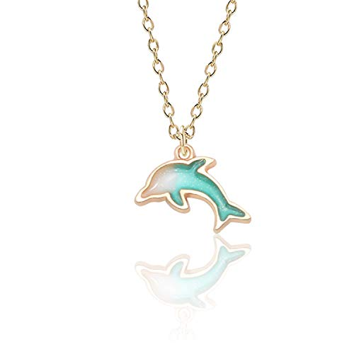- HOUBL Fashion Creative DIY Jewelry Gold Enamel Alloy Color Dolphin Pendant Exquisite Girl Child Pendant Necklace Christmas Jewelry