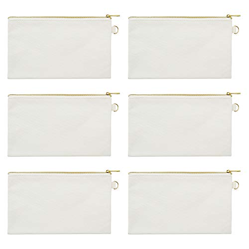 - Aspire 6-Pack Canvas Bags for DIY Project Natural Makeup Bags with Golden Zip