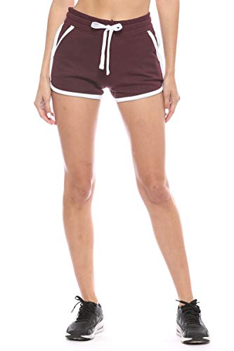 Urban Look Womens Stretch French Terry Casual Lounge and Workout Sweat Shorts (Large, B Maroon)