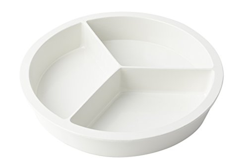 Bon Chef 5093 Aluminum Round 3 Compartment Food Pan, 4-Quarts Capacity, 15'' Diameter, Sandstone White by Bon Chef