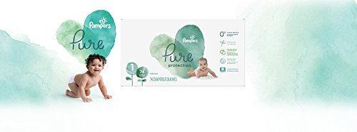 Diapers Size 1 (74 Count) - Pampers Pure Disposable Baby Diapers, Hypoallergenic and Unscented Protection, Super Pack