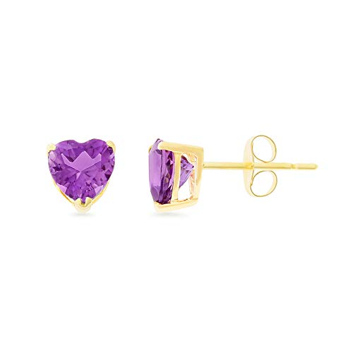 1.37CTW 14K Yellow Gold Genuine Natural Amethyst Heart Shaped 6 mm. Solitaire Stud ()