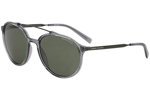 Armani Exchange Men's Injected Man Polarized Round Sunglasses, Transparent Dark Grey, 57 - Armani Round Sunglasses