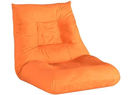 Merax Adjustable 5-Position Floor Chair Folding Lazy Sofa Floor Sofa Chair Cushion Orange