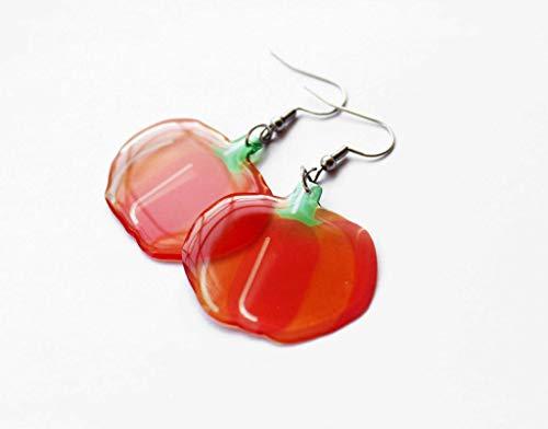 autumn jewelry fall wedding handmade halloween jewelry halloween costume pumpkin earrings vegan gift eco friendly gift orange earrings -