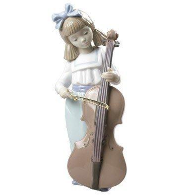 Nao Porcelain Figurine Girl - Nao Porcelain Figurine: Girl with Cello (7-1/2