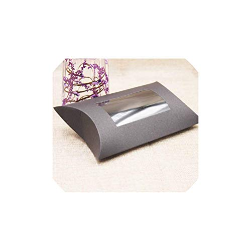 DIY Blank Paper Gift Box .Multi Size Pillow Gift Box with Clear PVC Window Kraft White Black Paper Window Box for Gift 10Pcs,Color As Pic1,160X70X24Mm