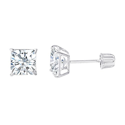 d Square Solitaire Princess Cut Cubic Zirconia CZ Stud Screw Back Earrings - 0.75ct (5mm) ()