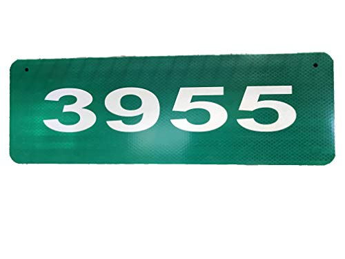 Custom Reflective Green 911 Horizontal Address Aluminum Sign with 2 1/2 Tall Numbers