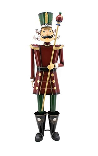 Giant Life-Size 5' Iron Nutcracker Christmas Holiday Toy Soldiers (Red with