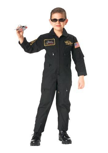 [Black Top Gun Kids Flight Coveralls With Patches 7203 Size XL] (Top Gun Costume Patches)