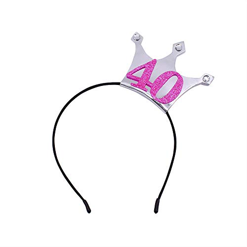 (40 Birthday Headband - 40 Years Party Tiara 40th Birthday Gifts Birthday Party Accessories(Silver/Glitter Pink))