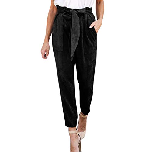 LOOKAA Pant Women's Pants Trouser Slim Casual Cropped Paper Bag Waist Pants with Pockets
