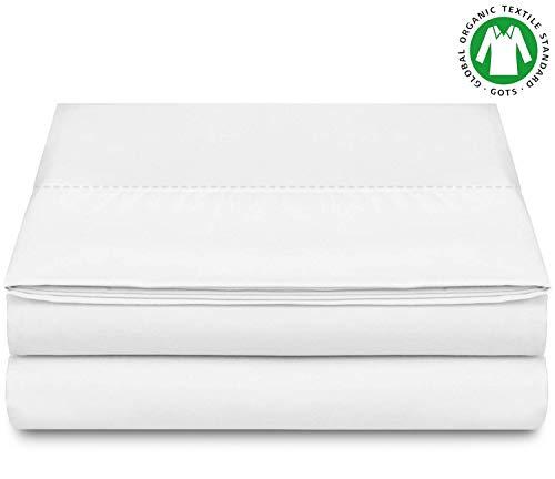 BIOWEAVES 100% Organic Cotton Flat Top Sheet 300 Thread Count Sateen Weave GOTS Certified (Twin, White)
