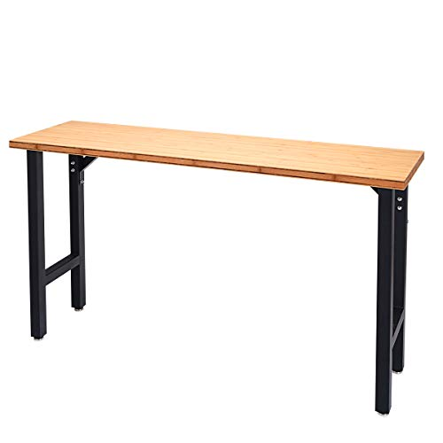"Goplus 65"" Bamboo Top Workbench Heavy-Duty Steel Garage Work Bench Triangle Reinforcement Work Table Hardwood Workstation, Easy Assembly"