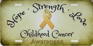 Smart Blonde Hope Strength Love Childhood Cancer Awareness Metal License Plate
