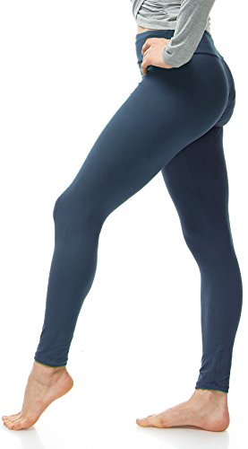 LMB Lush Moda Extra Soft Leggings - Variety of Colors - Yoga Waist - Charcoal
