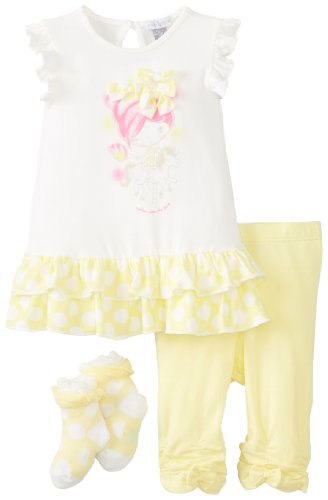 Price comparison product image Petit Lem Baby-Girls Newborn Cotton Candy Baby Tunic Set,  White / Yellow,  3 Months