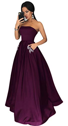 Yangprom Satin Strapless Formal Gowns with Beaded Pockets Lace Up Back Prom Dresses Long (6, Plum)
