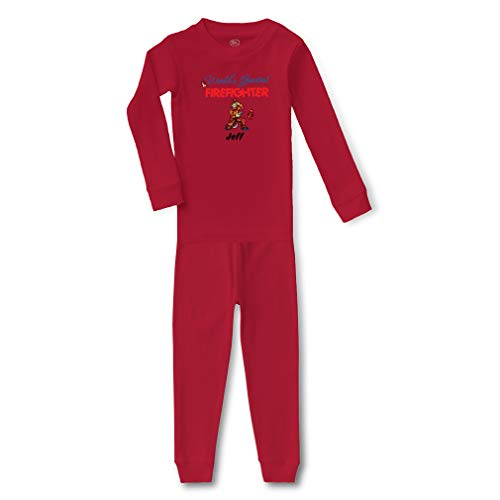 Personalized Custom World's Greatest Firefighter Cotton Crewneck Boys-Girls Infant Long Sleeve Sleepwear Pajama 2 Pcs Set Top and Pant - Red, 3T